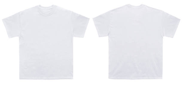 blank t shirt color white template front and back view - white tshirt stock photos and pictures
