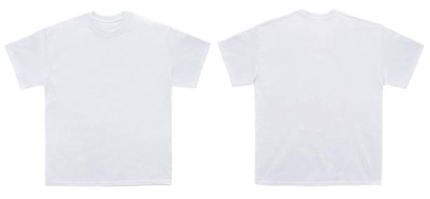 lege t shirt kleur wit sjabloon voor- en achterkant bekijken - korte mouwen stockfoto's en -beelden