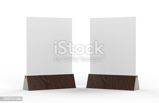 istock Blank table tent mock up template on isolated white background, Stand for acrylic tent card Used for Menu Bar and restaurant, 3d illustration 1002701484