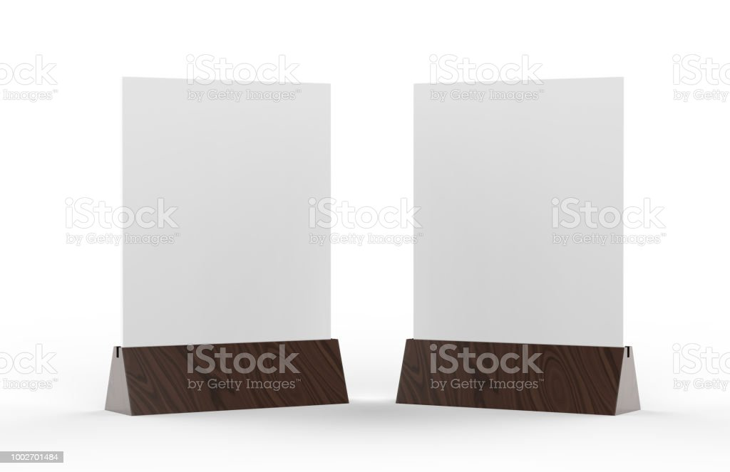 Blank table tent mock up template on isolated white background, Stand for acrylic tent card Used for Menu Bar and restaurant, 3d illustration stock photo