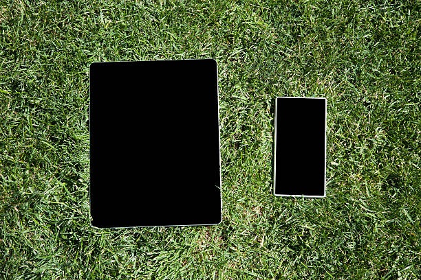 blank tablet and phone on grass stock photo