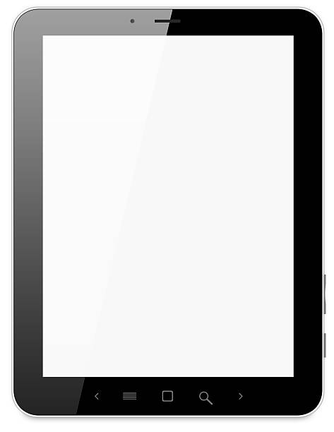 Blank tablet on a white background stock photo