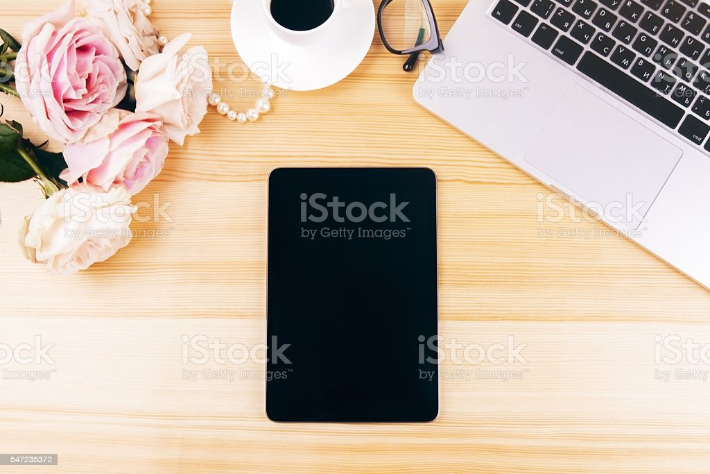 Blank tablet top stock photo