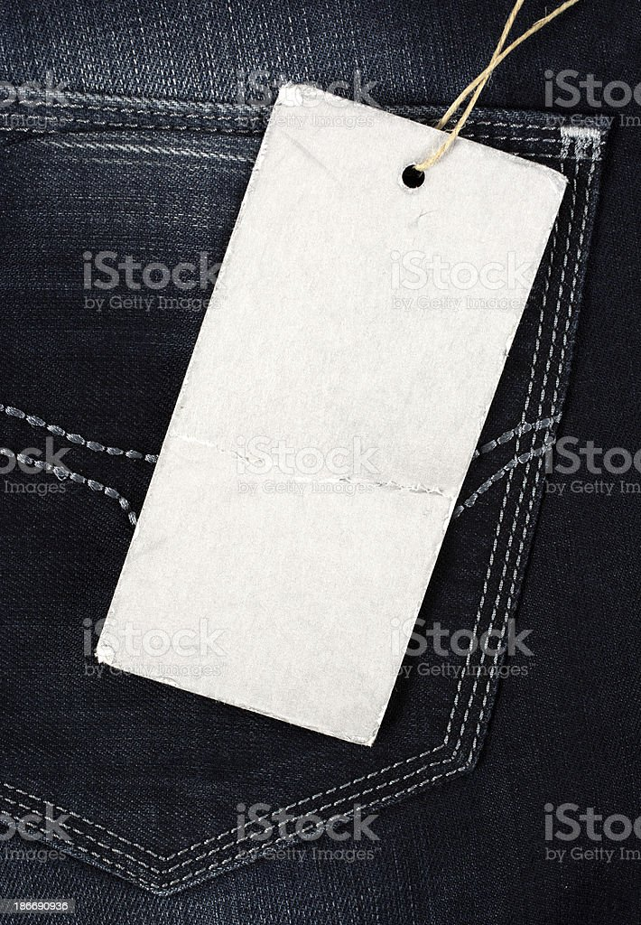 Blank tag on jeans royalty-free stock photo