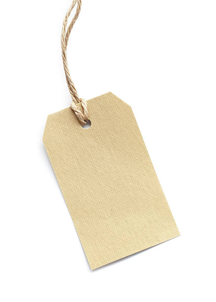 blank tag tied with brown string on white - label stock pictures, royalty-free photos & images