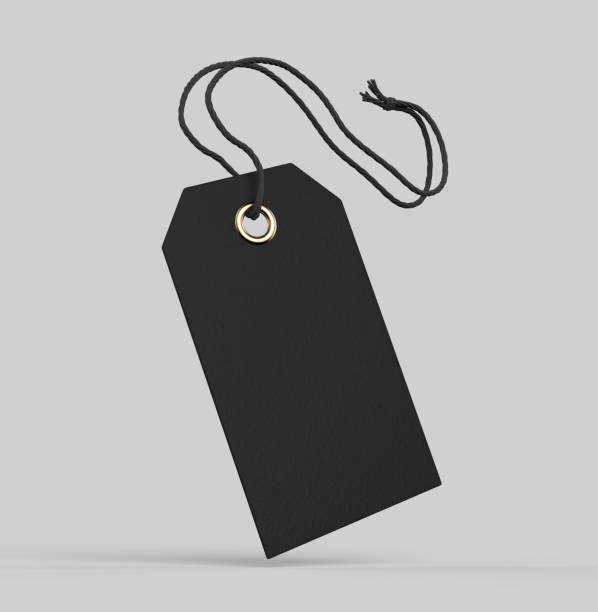 lege code gebonden met koord. prijskaartje, cadeau label, verkoop tag, adreslabel geïsoleerd op een grijze achtergrond. 3d render illustratie - schommelen bungelen stockfoto's en -beelden