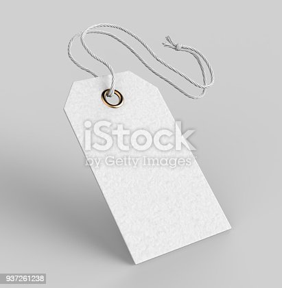 istock Blank tag tied with string. Price tag, gift tag, sale tag, address label isolated on grey background. 3d render illustration 937261238