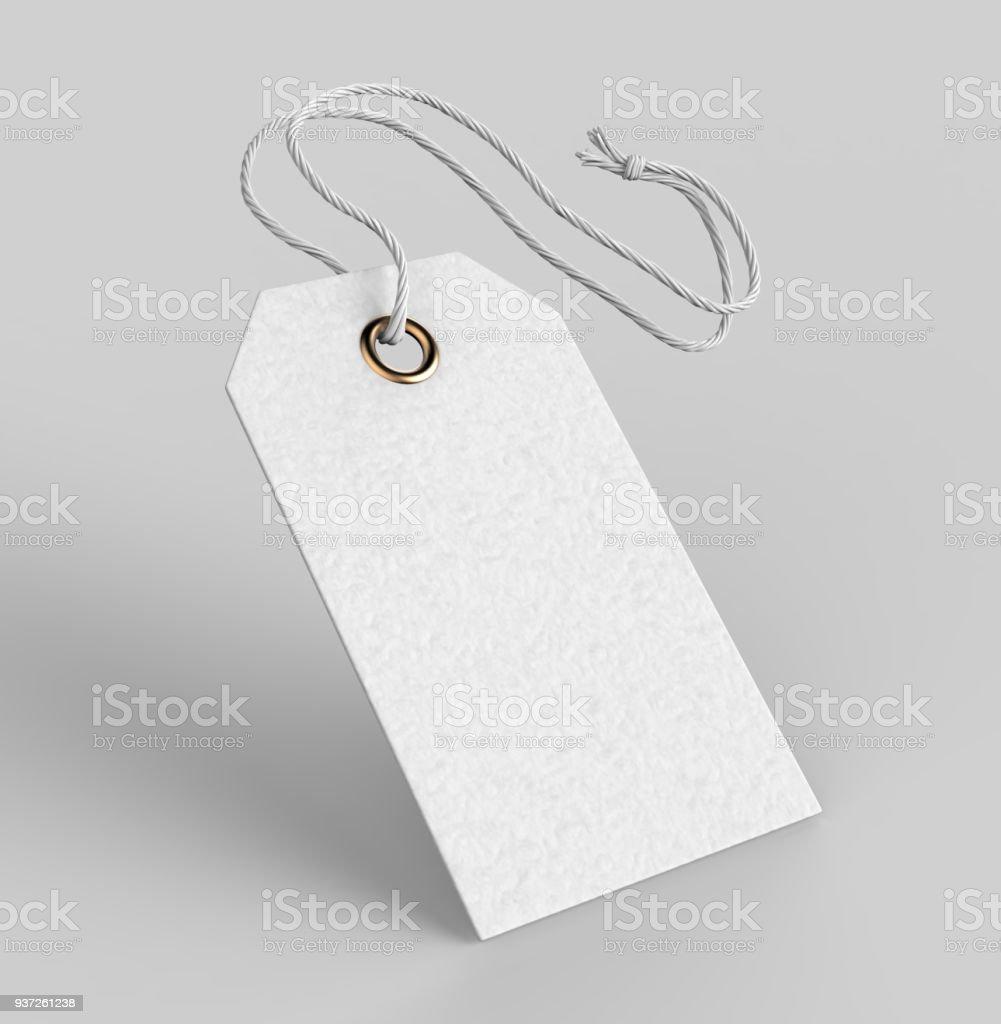 Etiqueta en blanco atado con cadena. Etiqueta de precio, etiqueta de regalo, venta etiqueta, etiqueta de dirección aislada sobre fondo gris. Ilustración de render 3D - foto de stock