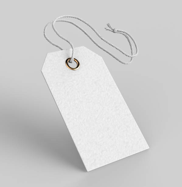 blank tag tied with string. price tag, gift tag, sale tag, address label isolated on grey background. 3d render illustration - label stock pictures, royalty-free photos & images