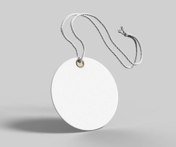 blank tag tied with string. price tag, gift tag, sale tag, address label isolated on grey background. 3d render illustration. - label stock pictures, royalty-free photos & images