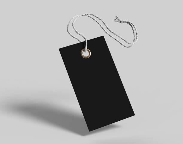 lege code gebonden met koord. prijskaartje, cadeau label, verkoop tag, adreslabel geïsoleerd op een grijze achtergrond. 3d render illustratie. - schommelen bungelen stockfoto's en -beelden
