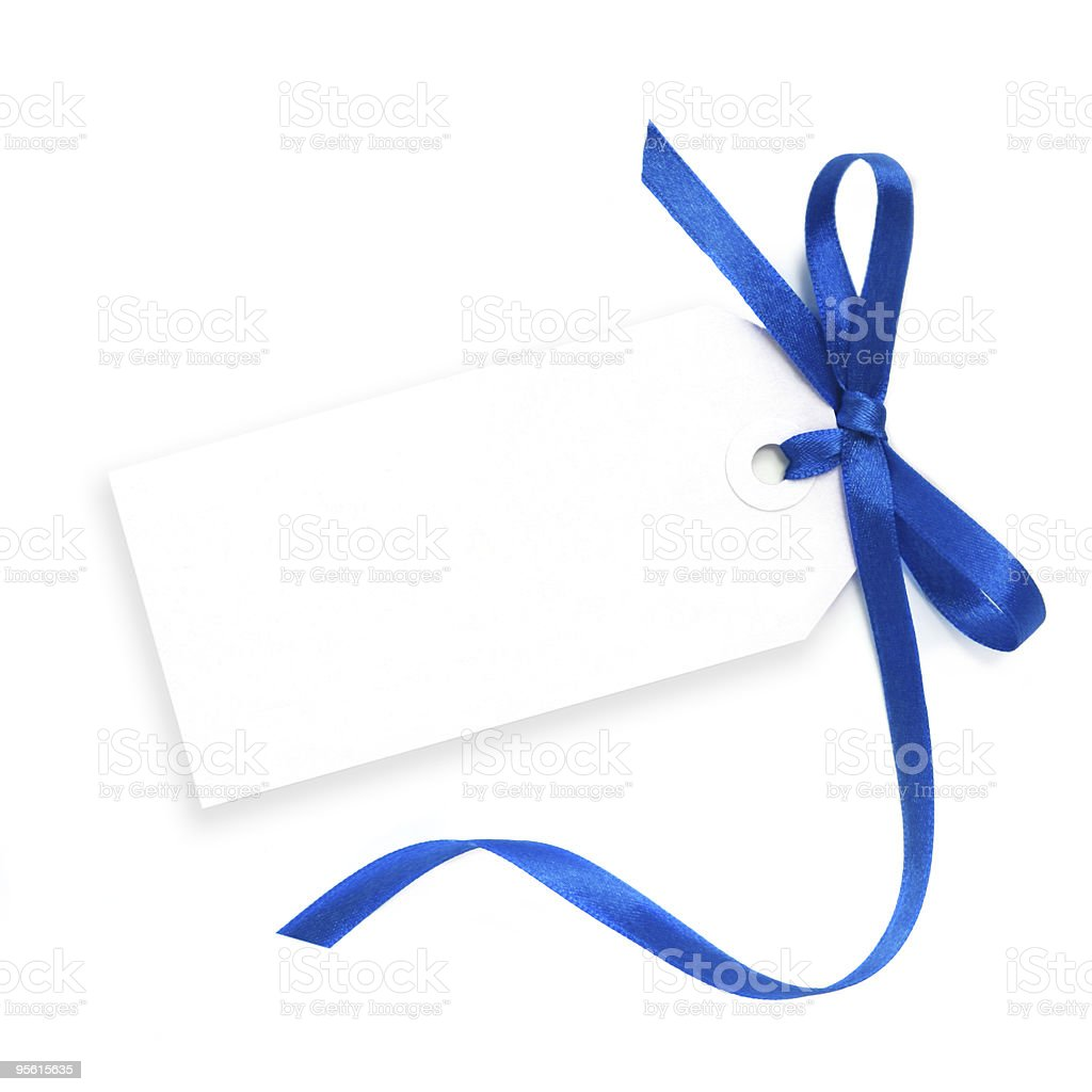 Blank Tag with Blue Ribbon stock photo