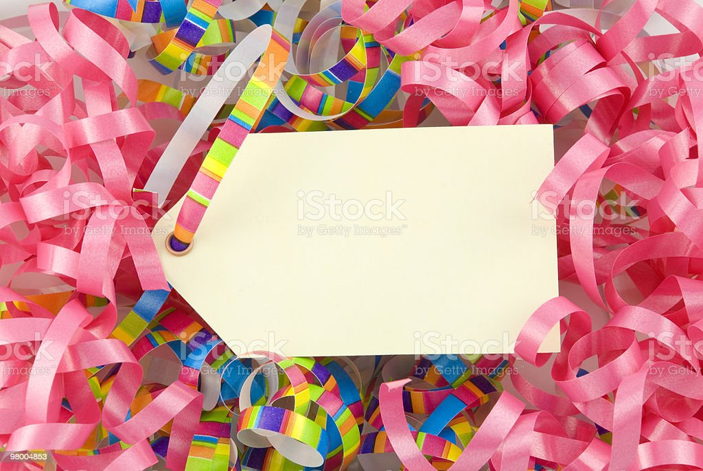 Blank Tag with Colorful Ribbons royalty-free stock photo