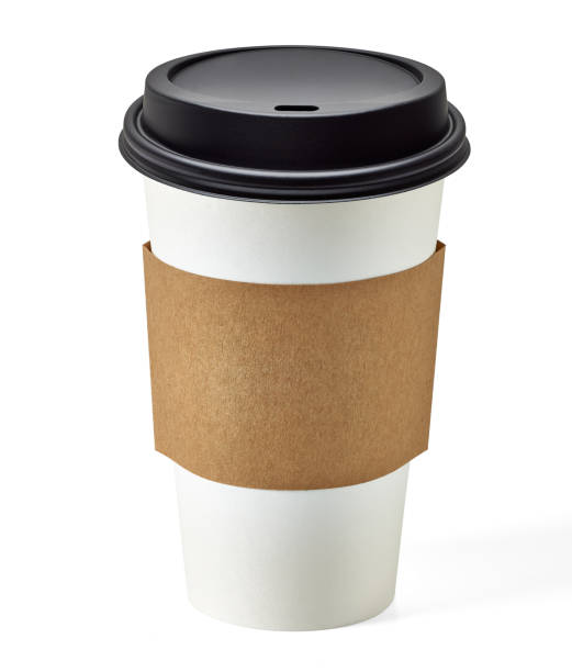 Blank take away coffee cup Blank take away coffee cup and sleeve with clipping path on white background disposable cup stock pictures, royalty-free photos & images