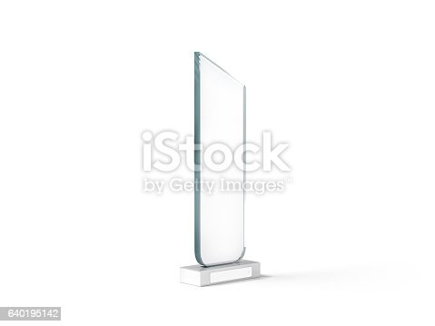 544347868 istock photo Blank tall glass trophy mockup, 3d rendering.. 640195142