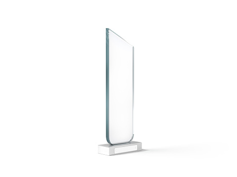 istock Blank tall glass trophy mockup, 3d rendering.. 640195142