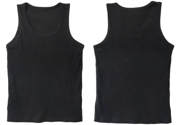 Blank tank top color black front and back view Blank tank top color black front and back view on white background tank top stock pictures, royalty-free photos & images