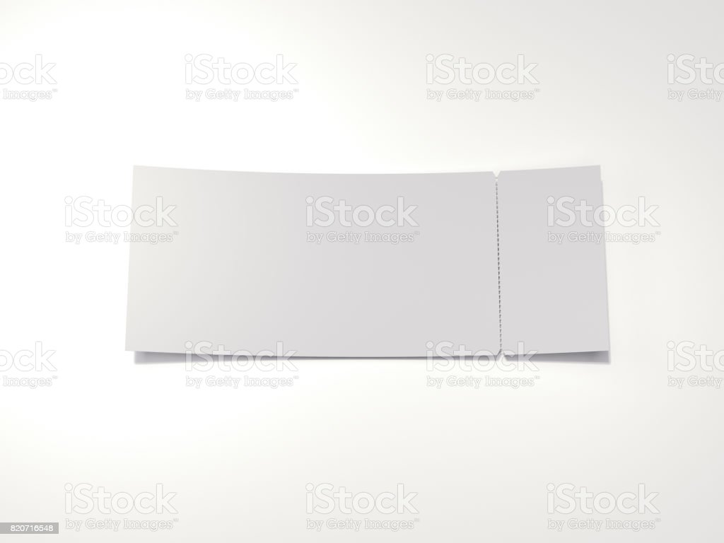 Blank tear-off ticket. 3d rendering stock photo