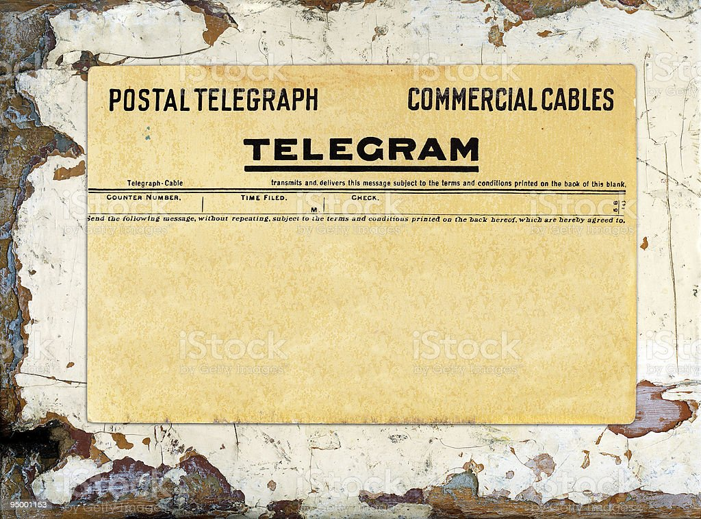 Blank telegram on grungy painted wood stock photo