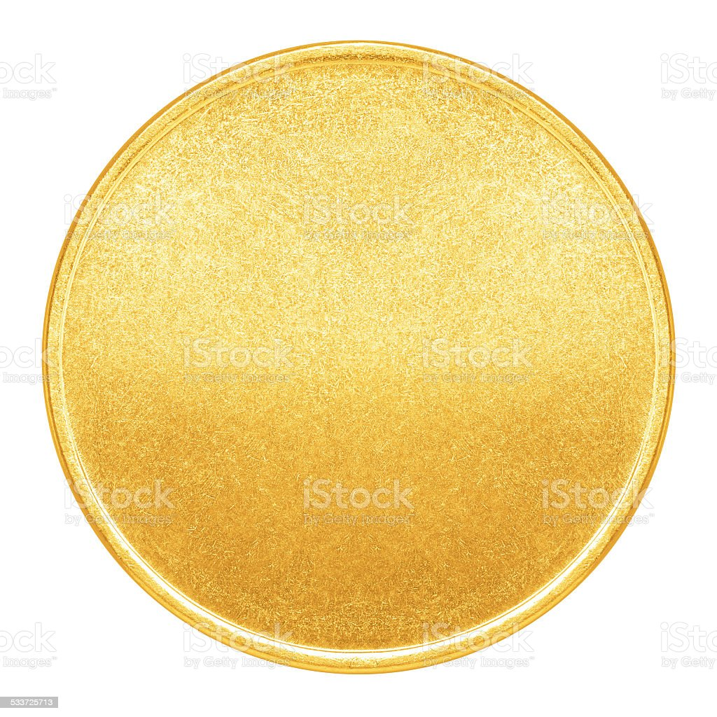 Blank template for gold coin or medal with metal texture stock photo