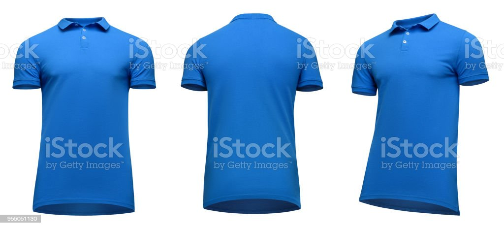 Blank template men blue polo shirt short sleeve, front and back view half turn bottom-up, isolated on white background with clipping path. Mockup concept t-shirt for design and print stock photo