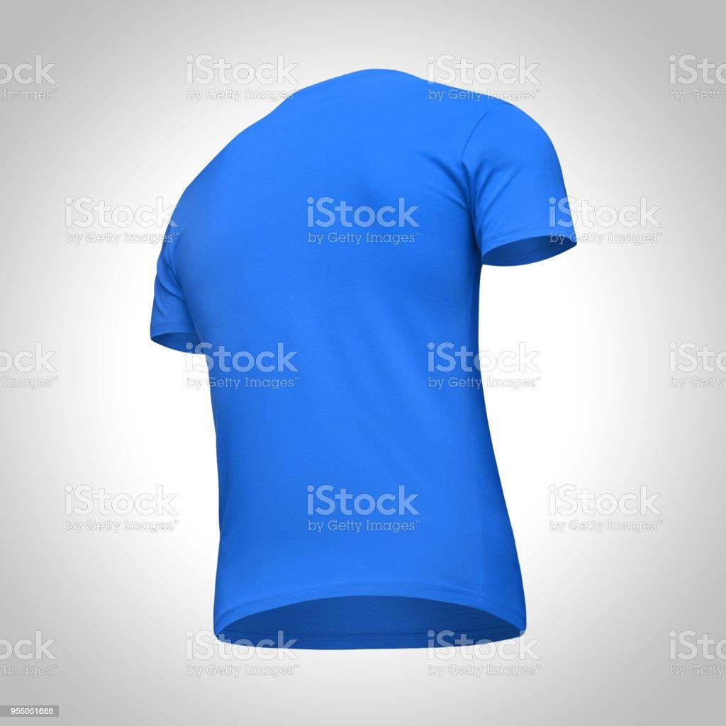 Blank Template Men Blue T Shirt Short Sleeve Back View Bottomup Half