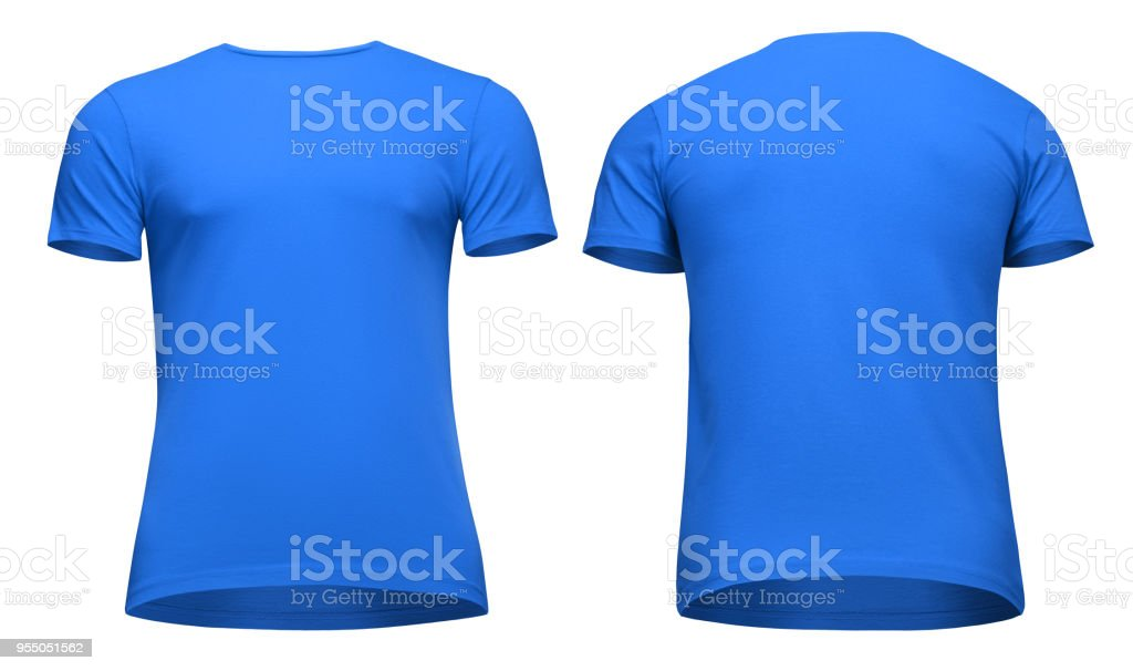 ec68f38e Blank template men blue t shirt short sleeve, front and back view  bottom-up, isolated on white background with clipping path. Mockup concept  tshirt for ...