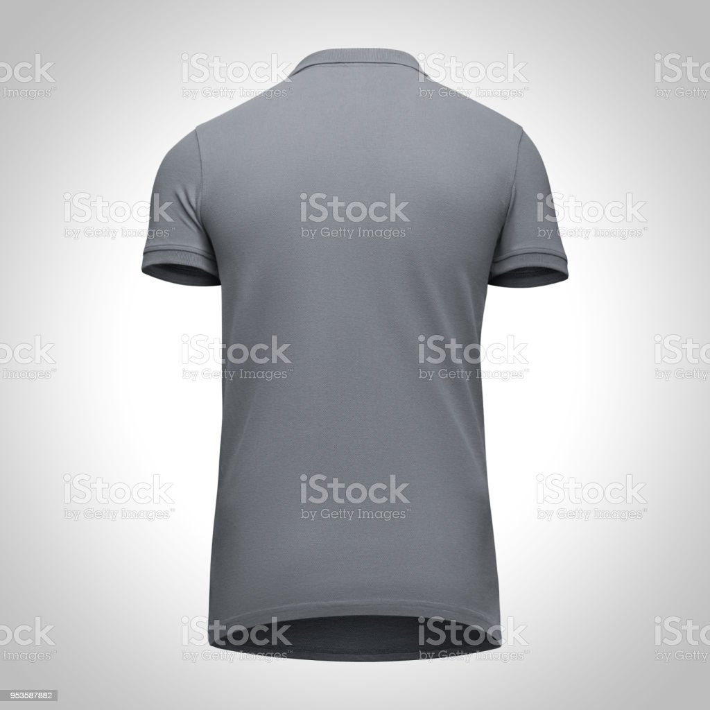 3c993637c79795 Blank template men grey polo shirt short sleeve, back view bottom-up,  isolated on gray background with clipping path. Mockup concept t-shirt for  design and ...
