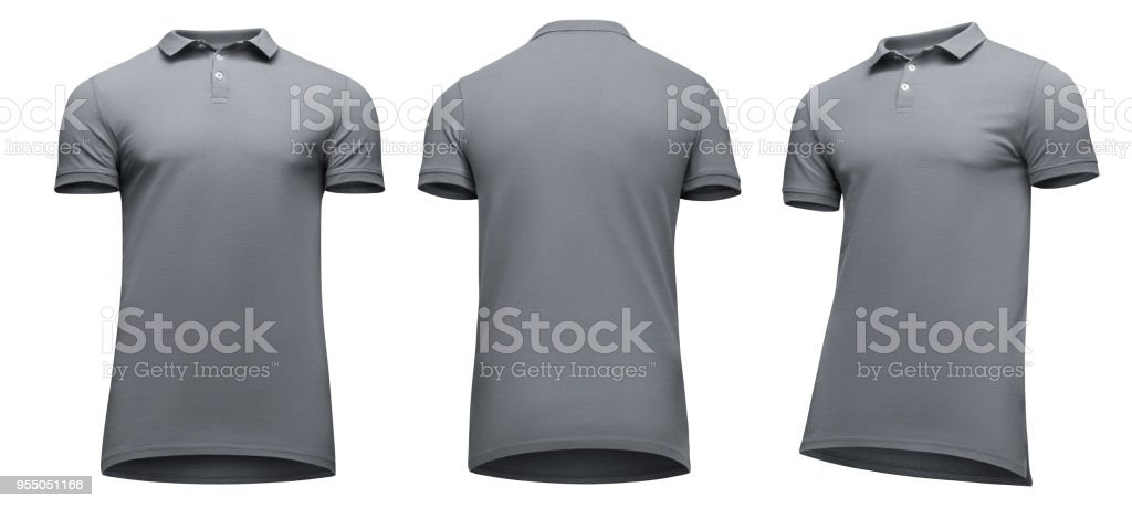 4f3838ac940319 Blank template men grey polo shirt short sleeve, front and back view half  turn bottom