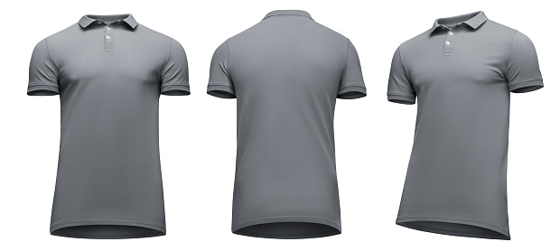 Blank Template Men Grey Polo Shirt Short Sleeve Front And