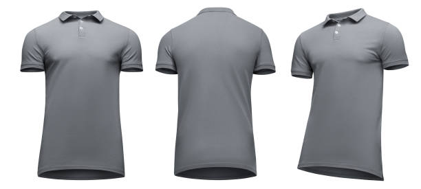 Royalty free blank grey t shirts front and back pictures images and blank template men grey polo shirt short sleeve front and back view half turn bottom maxwellsz