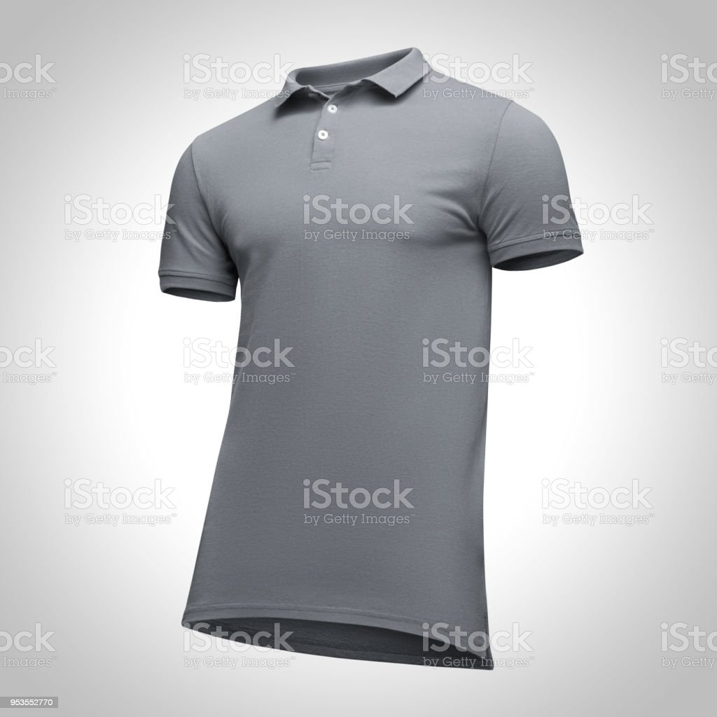 80be67e0 Blank template men grey polo shirt short sleeve, front view half turn  bottom-up, isolated on gray background with clipping path. Mockup concept t  shirt for ...
