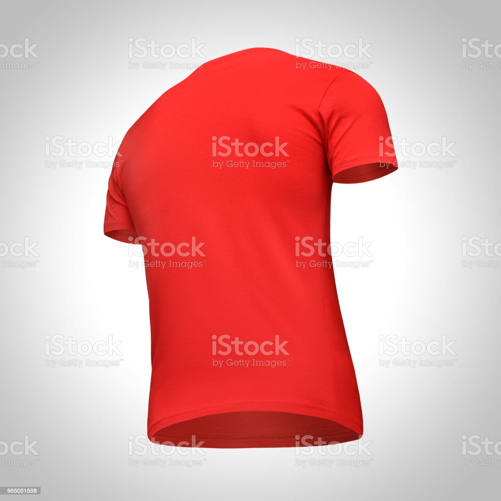 40ab578b2 Blank template men red t shirt short sleeve, back view bottom-up half turn,  isolated on gray background with clipping path. Mockup concept tshirt for  design ...
