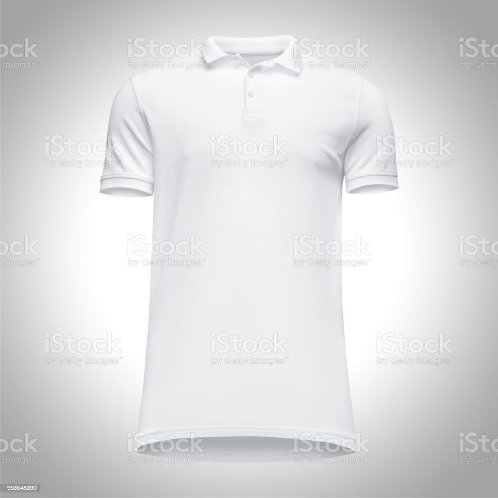 62e26c8fc61 Blank Template Men White Polo Shirt Short Sleeve Front View Bottomup ...