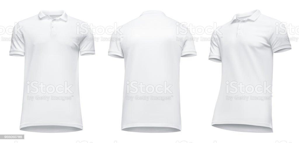98dae8249d337 Plantilla En Blanco Los Hombres Camisa Polo Blanca Manga Corta Vista ...