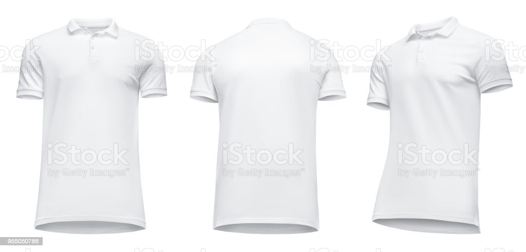 Blank template men white polo shirt short sleeve, front view half turn bottom-up, isolated on white background with clipping path. Mockup concept t-shirt for design and print stock photo