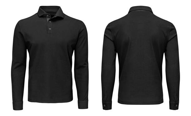 Blank template mens black polo shirt long sleeve, front and back view, isolated white background with clipping path. Design sweatshirt mockup for print. stock photo