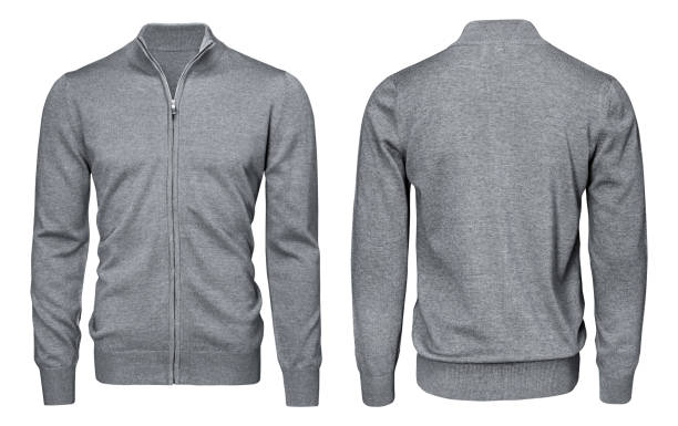 blank template mens grey sweatshirt long sleeve, front and back view, isolated white background with clipping path. design pullover mockup for print. - sweatshirt stock photos and pictures