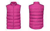Blank template pink waistcoat down jacket sleeveless with zipped, front and back view isolated on white background. Mockup winter sport vest for your design.