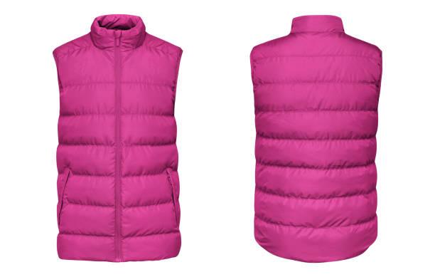 空白範本粉紅色背心下來夾克無袖與拉鍊, 正面和背面視圖查出在白色背景。類比冬季運動背心為您的設計 - 外套 個照片及圖片檔