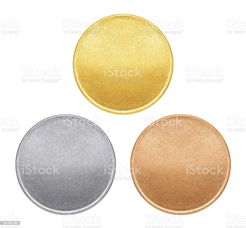 Blank templates for coins or medals with metal texture stock photo