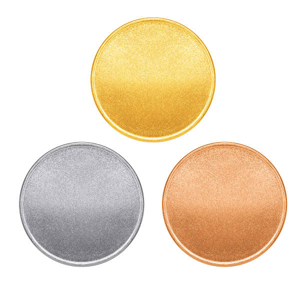 blank templates for coins or medals with metal texture - nickel stock photos and pictures