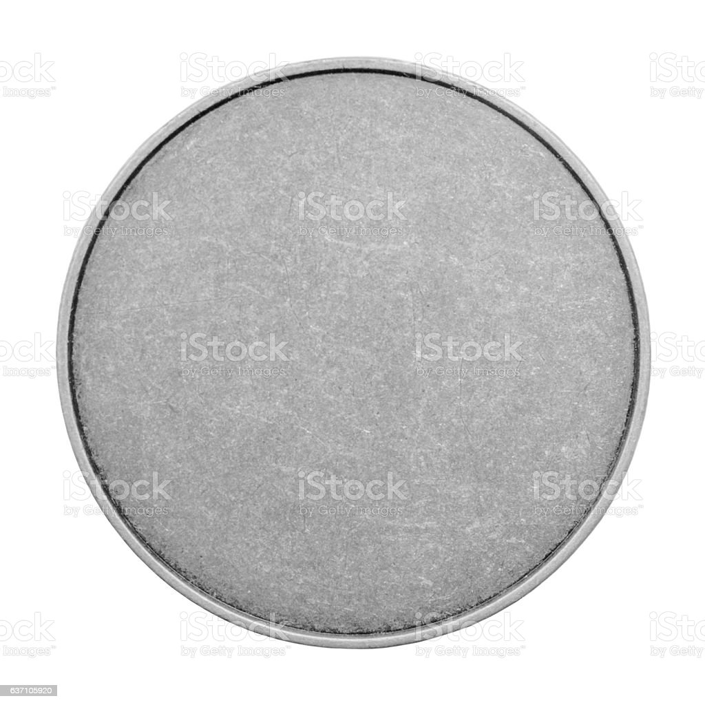 Blank templates for coins or medals with metal texture. Silver. stock photo