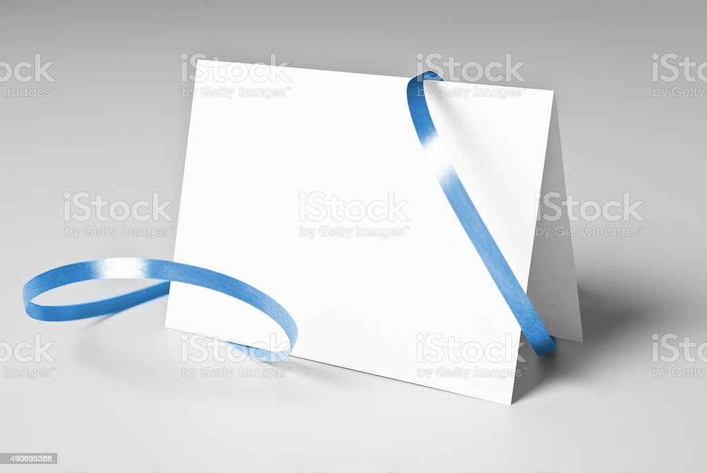 Blank thank you or greeting card with blue ribbon stock photo