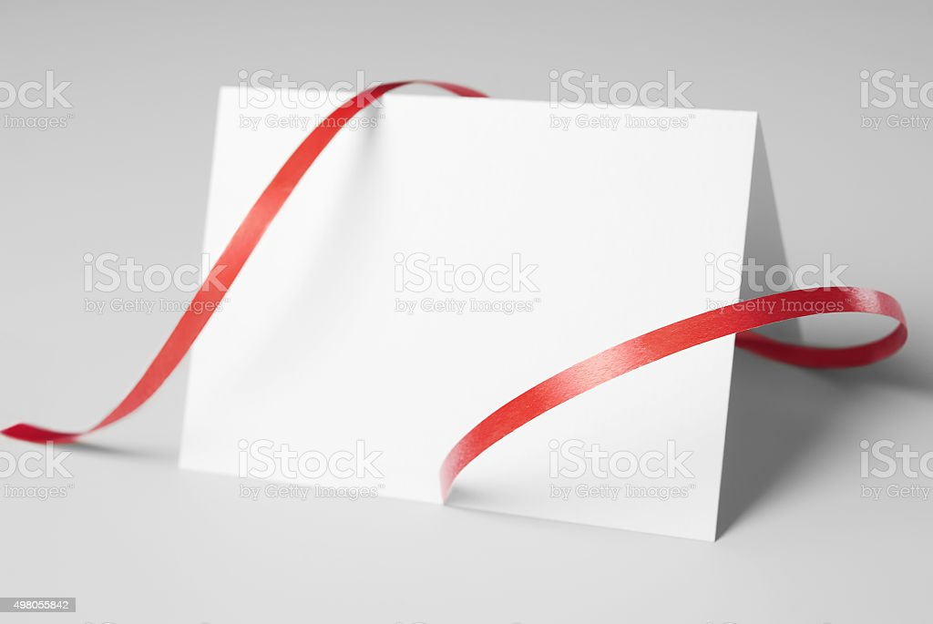 Blank thank you or greeting card with red ribbon stock photo