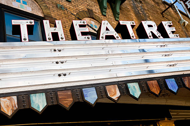 Blank theater marquee Theatre sign before a show or movie theater marquee commercial sign stock pictures, royalty-free photos & images