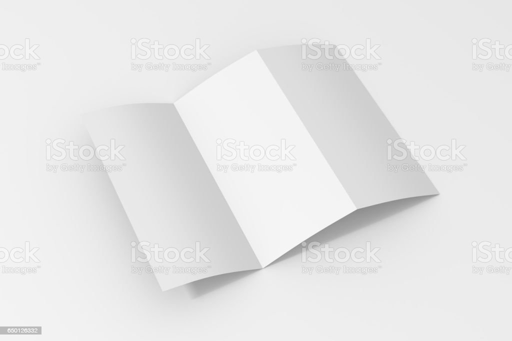 Blank three fold paper brochure on white background - foto stock