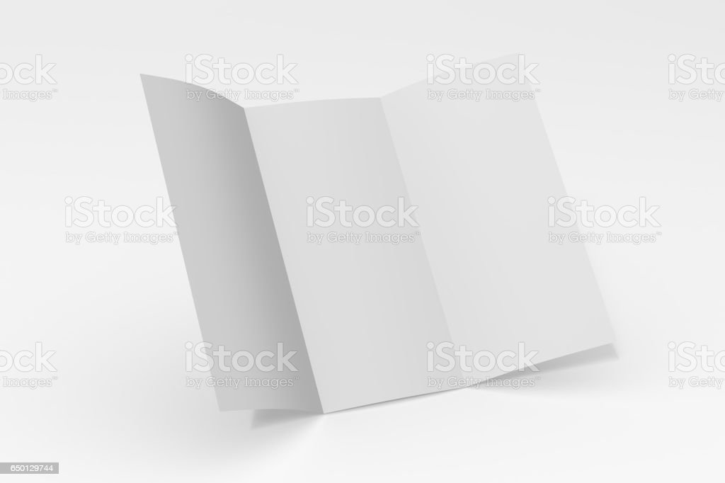 Blank three fold paper brochure on white background with soft shadows and highlights - foto stock