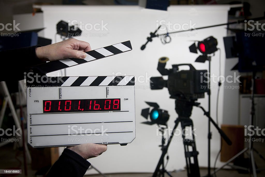 blank time code movie slate on set stock photo