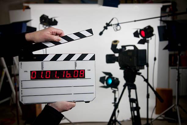 blank time code movie slate on set stock photo